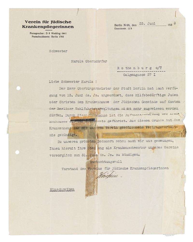 Jüdisches Museum Berlin Online Schaukasten Kündigungsschreiben