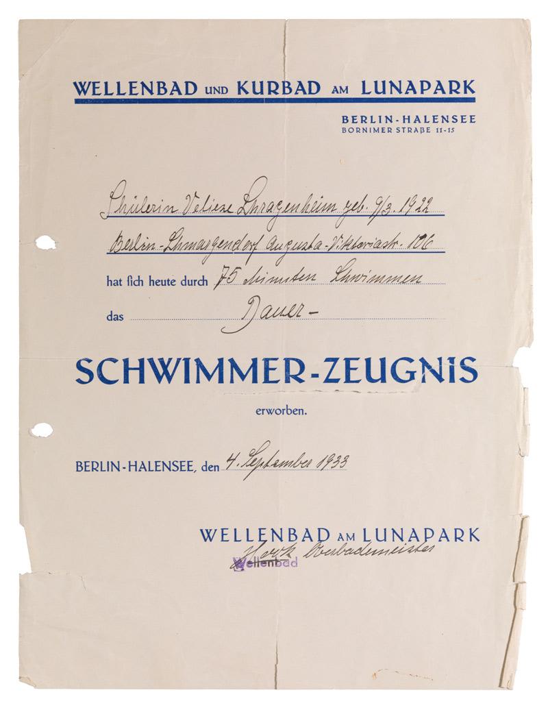 Jüdisches Museum Berlin Online Schaukasten Schwimmerzeugnis Aus