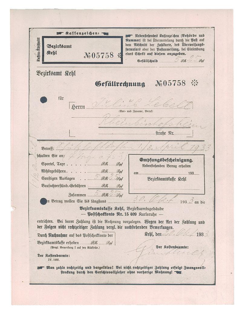 j disches museum berlin online schaukasten rechnung des bezirksamtes kehl an julius lebell. Black Bedroom Furniture Sets. Home Design Ideas