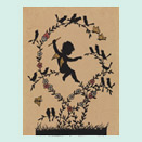 Silhouette of a small angel on a branch conducting a flock of singing birds perched on the surrounding branches.