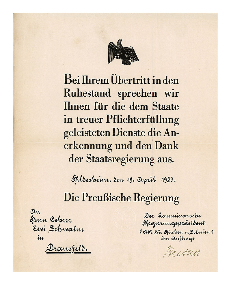Certificate of appreciation issued to the teacher levi schwalm by official certificate with a reich eagle yadclub Gallery