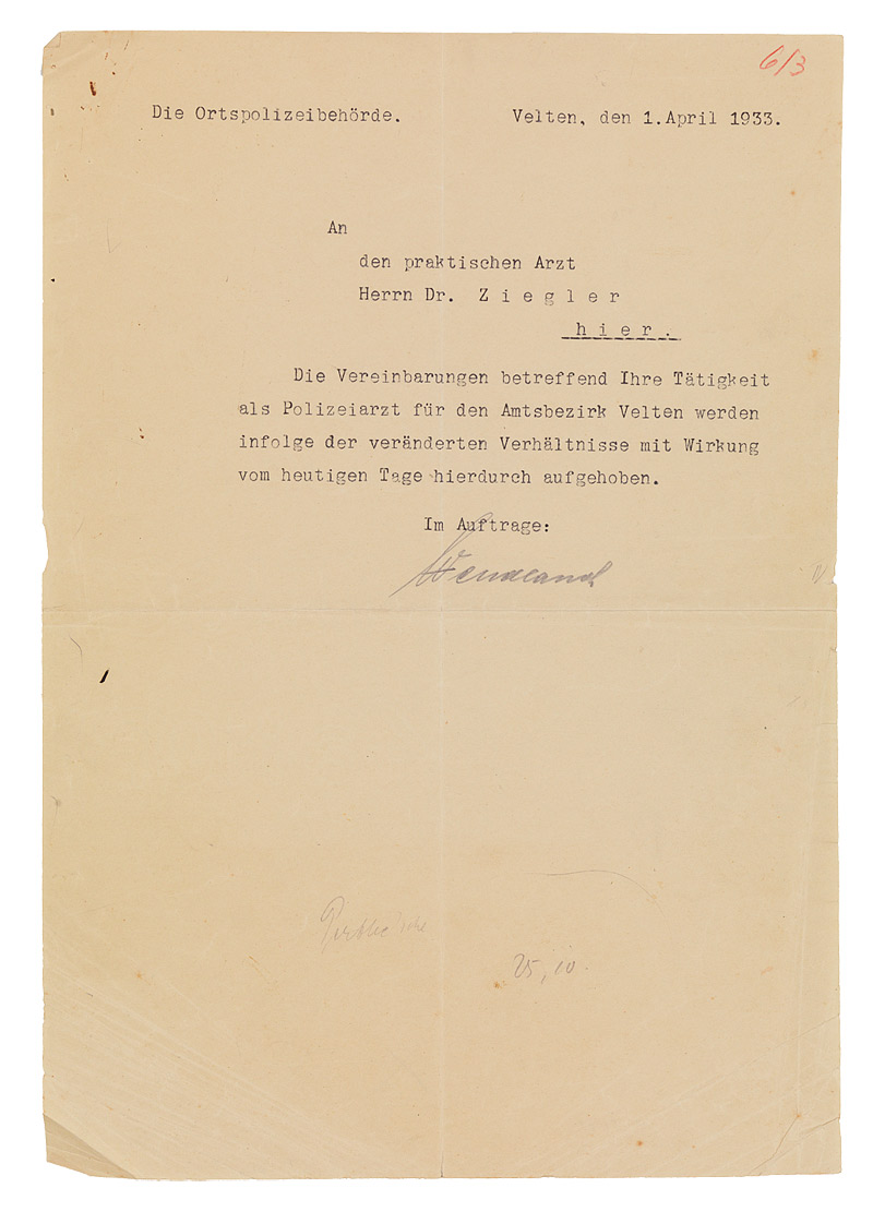 Letter Dismissing Heinrich Ziegler From His Position At The Velten