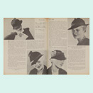 Long article running over two pages with four fashion photos of various hat designs