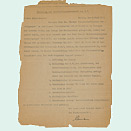 Yellowed sheet of paper, typewritten and copied, with damaged edges.