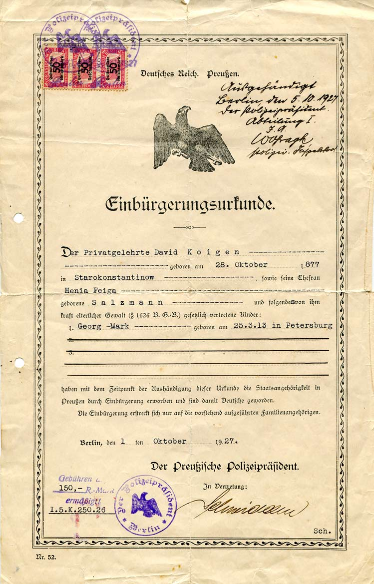 Naturalization document, signed by the Prussian police commissioner