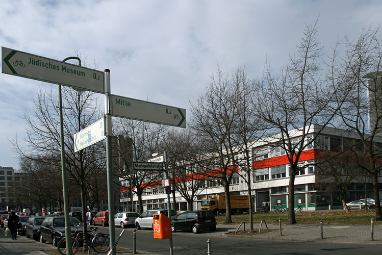 street view with traffic signs