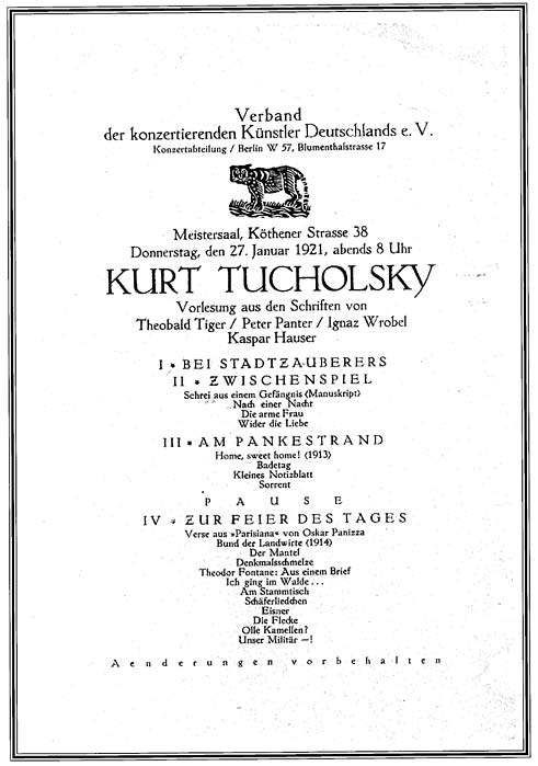 Program for a reading by Kurt Tucholsky at the Meistersaal on January 27, 1921