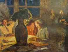 Painting: Man in the foreground reading, people listening to him
