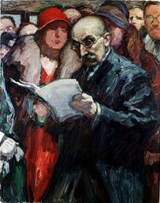 Painting: Man in the foreground reading a paper, people behind him