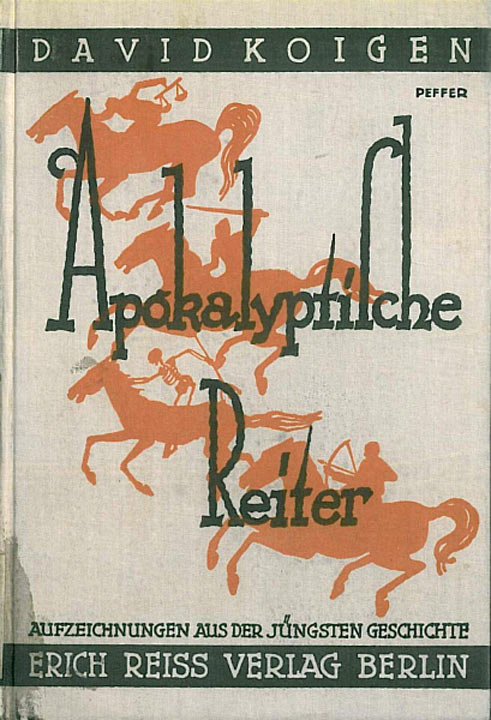 Book cover with title and horsemen (including a skeleton on a horse)