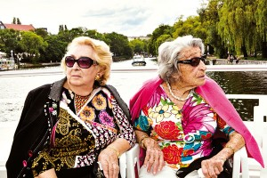 Oma and Bella on a boat
