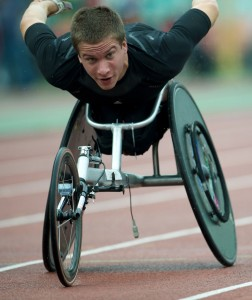 athlete racing in a wheelchair