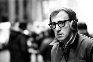 Woody Allen with headphones and camera