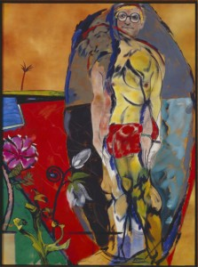 Painting by Kitaj with David Hockney and a pink flower