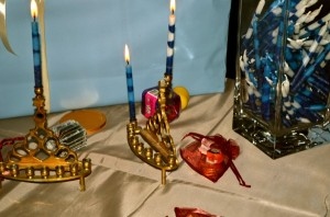 Candles burning on the first night of Hanukkah