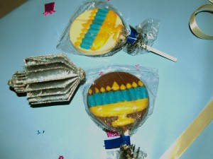 Lollipops with Menorah decoration