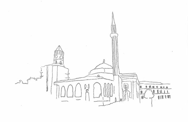 drawing of Et'hem-Bey Mosque in Tirana