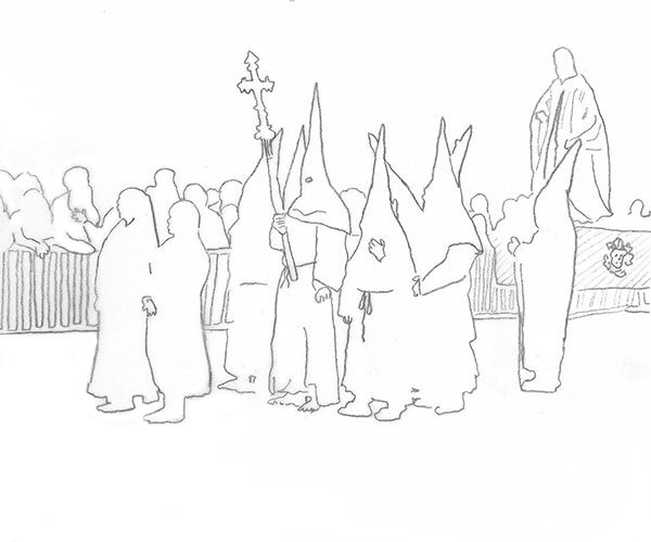 drawing of the Good Friday Procession in Perpignan