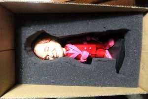 Doll in box with styrofoam