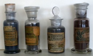 Vitreous jars of dye
