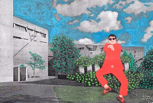 Collage showing PSY in front of the Jewish Museum Berlin