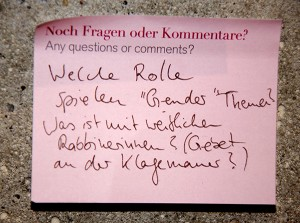 "Post-it note: ""What role do gender themes play? What's the story with women rabbis? (And prayer at the Western Wall?)"""