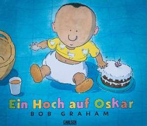 Book cover with little Oscar and a birthday cake