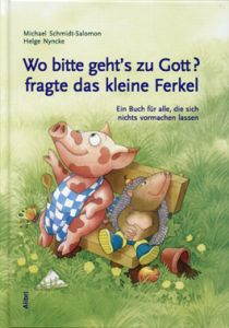 Book cover: A piglet and a hedgehog on a bench