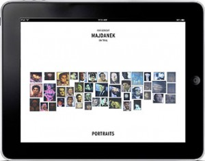 Start screen of an iPad with 44 portraits