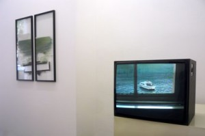 Exhibition, picture caption on the left, film still on the right