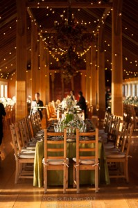 interior view of a barn, prepared for wedding guests