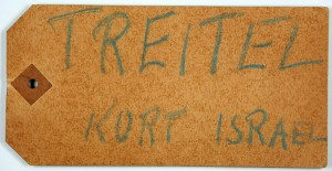 "Paper with the inscription ""Treitel Kurt Isreal"""