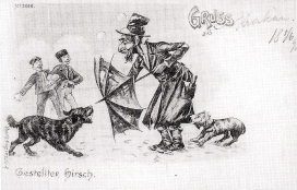 Man thwarting off dog with a tattered umbrella