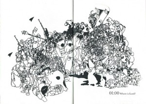 illustration on both pages of the booklet