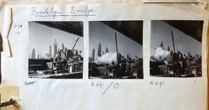 Three pictures with a skyline on a sheet of paper