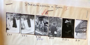 A sheet with six pictures of street scenes