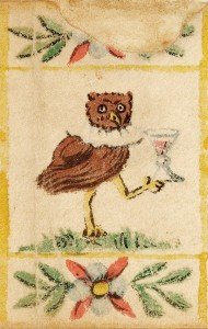 A depiction of a bird holding a wine goblet