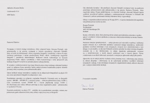 Two pages of a letter in Polish language