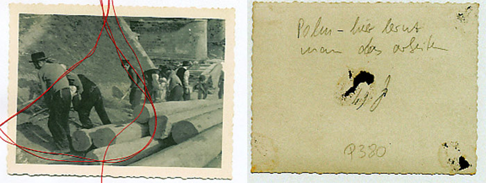 "A red thread laid on a photograph with working men and the rear view of the photo with the inscription ""Poland - here you learn how to work"""