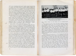Two pages of a book with text and a photograph of a soccer team