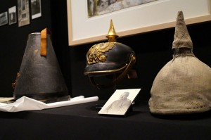 A spiked helmet in a showcase