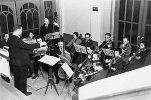 chamber orchestra in an small room