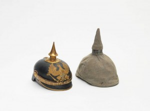 Dr Max Litthauer's Pickelhaube (spiked helmet) with camouflage covering, 1914–1918. Donated by Bart Ullstein © Jewish Museum Berlin, Photo: Jens Ziehe.