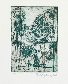 Color etching of four persons on a balkony