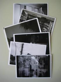 six black white postcards