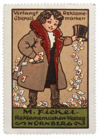 Poster stamp with a man, out of his hat are falling poster stamps