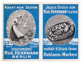 Two posterstamps with a woman making soap bubbles and a piece of soap