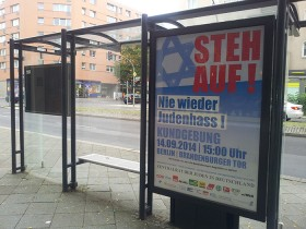 Poster at a bus stop for the demonstration against anti-Semitism in Berlin on 14 September 2014