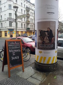 "Advertisement for the ""Cycling Unites""-Critical-Mass-Tour in Berlin on 22 March 2015: Imam Ferid Heider and Rabbi Daniel Alter are cycling together"