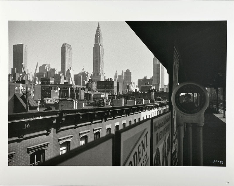 black white photograph of the skyline New York with Ilse Bing in specular reflection